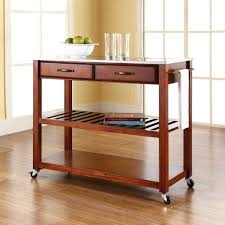 Crosley Kitchen Cart Granite Top Crosley Cherry Kitchen Cart With Stainless Steel Top Kf30052ch