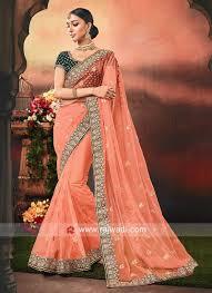 Latest Velvet Saree Designs Net Orange Saree With Velvet Blouse