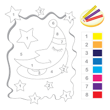 Small Picture Stars and Moon Color by Number Printable Numbers Math and School