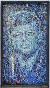 Sold Price: Edward Ford, mixed media, abstract portrait of J F Kennedy,  made up of painted lozenges stuck to a plaster ground in blues, greens and  reds, signed lower right 90cm x