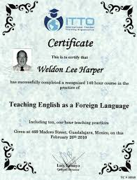 Teacher Of English As A Foreign Language Tefl Certificate Itto