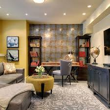 Decorating home office Glamorous Design Ideas Gorgeous And Well Decorated Home Office In The Basement How To Change Your Militantvibes Design Ideas Gorgeous And Well Decorated Home Office In The