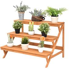 costway 3 tier wood plant stand flower pot holder shelf display rack stand step ladder 3