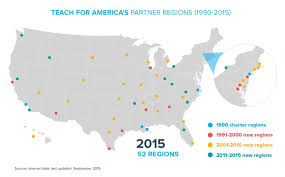 research teach for america an inforgraphic showing tfa partner regions across america