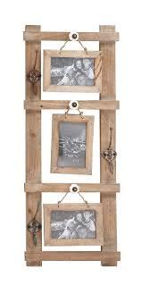 barn wood picture frames. Rustic Western Wood Picture Frame 3 Hanging 5x7 Photos Vintage Look Metal Hooks Barn Frames 2