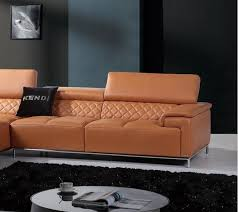 modern orange italian leather sectional sofa left chaise vig divani casa citadel order