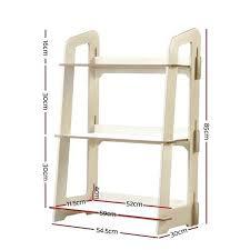 3 tier ladder shelf kids bookshelf children toy display folding wood black
