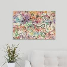 greatbigcanvas color art map of london with no street names by michael tompsett canvas on wall art street names with greatbigcanvas color art map of london with no street names by