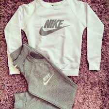 nike outfits. #pants #shirt #nike #gray stylish women\u0027s gray and milky sweatsuit nike outfits