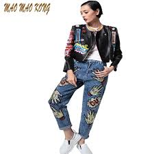 2017 spring autumn new women s leather jacket fashion letter print pattern leather coats graffiti crazy style