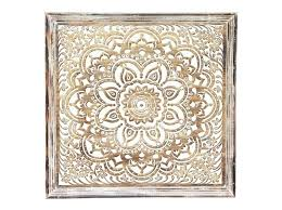 carved wood wall art white