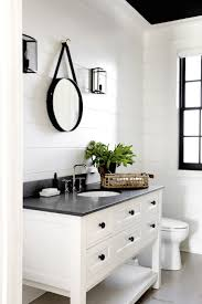 Color Inspiration: Charcoal and Cream modern farmhouse bathroom, shiplap  walls, white vanity, black counter and accessories