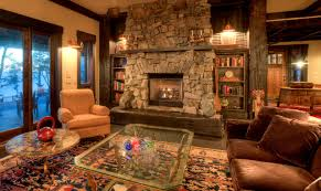 Living room with stone fireplace rustic-living-room
