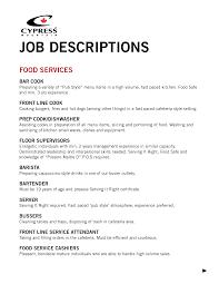 Cook Job Description For Resume Cosy Job Descriptions For Resumes For Job Description Sample 34