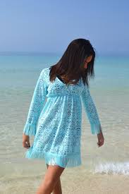 Fringe Lace Beach Kaftan Blue