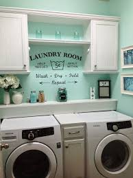 Rustic Shabby Chic Laundry Room, vintage Vinyl decal small laundry room  Love this paint color!