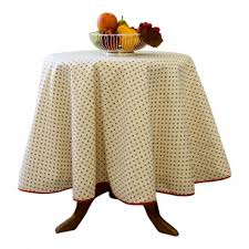 provence tablecloth esterel ivory with red flowers round 63 100