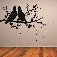two birds on branch nature wall art