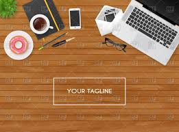 designer office desk isolated objects top view. design wooden desk top view designer office isolated objects