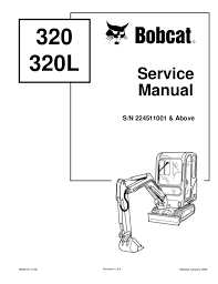 Excavator Classification Chart Bobcat 320 320 L Compact Excavator Service Repair Manual Sn