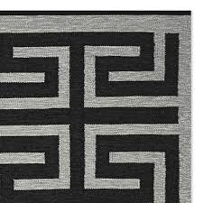 perennials greek key indoor outdoor rug black