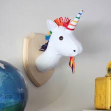 rainbow unicorn stuffed animal wall mounted head vegan taxidermy nursery decor