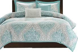 white modern damask comforter set