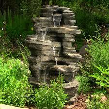 outdoor rock waterfall water fountain garden decor yard