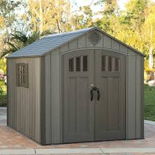 lifetime 8x10 outdoor storage shed kit w vertical siding roof brown 60211u