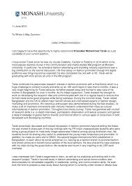What Is In A Letter Of Recommendation Pdf Recommendation Letter 2 Monash University Australia