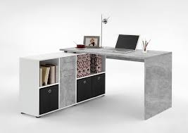 corner office furniture. Luiz Concrete Grey And White Flexi Corner Office Desk - Amos Mann Furniture D