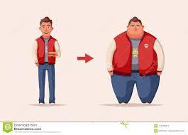 Fat Man Character Design Sad Fat Man Obese Character Fatboy Cartoon Vector
