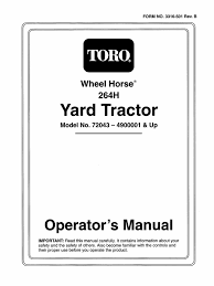 toro wheel horse 264 h owners manual