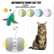 Balo Thông Minh Thú Cưng Điện Tử Đồ ChơI Mèo 2 Bánh Đèn LED USB Cán Đèn  Sáng Nhiều Màu Sắc Điện Cát Dính Tự Động cho Thú Cưng Đồ Chơi