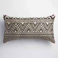 Black and Taupe Kilim Indoor Outdoor Lumbar Pillow