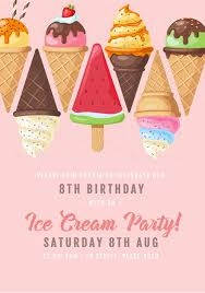 8th Birthday Party Invitations Ice Creams On Pink Background Kids Birthday Party Invite Easil