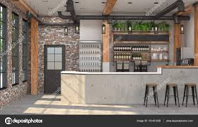 Modern Design Of The Bar In Loft Style 3d Visualization Of