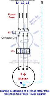 on off 3 phase motor connection control diagram electrical starting stopping of motor from more than one place power control diagrams controlling a 3 phase motor from more than two places installation