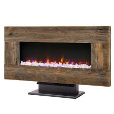 hybrid wide horizontal wallmount electric fireplace with barn board wood frame