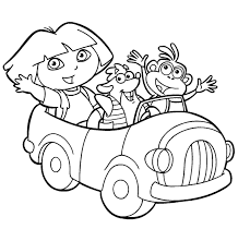 Dora And Friends Ride Cars Coloring