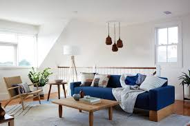 upstairs living room hangout with blue sofa modern shaker beach house tour on coco kelley coco kelley coco kelley