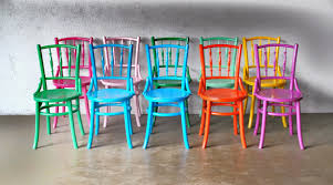 brightly painted kopitiam chairs in different colours bright painted furniture