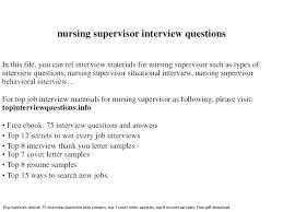 Nursing Supervisor Resume Supervisor Resume Nursing Supervisor ...