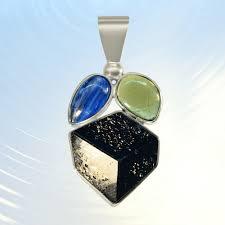 blue kyanite moldavite black tourmaline crystal custom pendant
