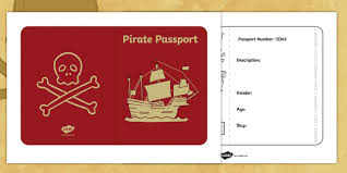 Passport Booklet Template Pirate Passport Pirates Writing Frame Writing Template Write
