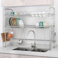 2 tier stainless steel dish rack nonslip height adjule with chopstick holder