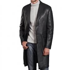 a supreme quality black leather long coat for men