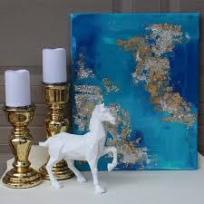 envirotex lite pour on high gloss finish 16 oz stretched canvas 16 20 paint 4 5 shades of acrylic paint paint brush gold leaf and adhesive