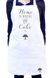 kitchen apron. home is where the cake white kitchen apron with colour detail full custom text