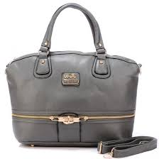 Coach Zip In Logo Large Grey Satchels 21086